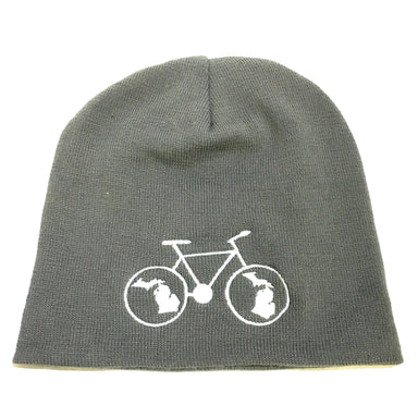 Hat - Michigan Bike Beanie - Grey-Hats-Detroit Shirt Company