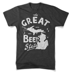 Mens Triblend The Great Beer State T-shirt (Heather Black)