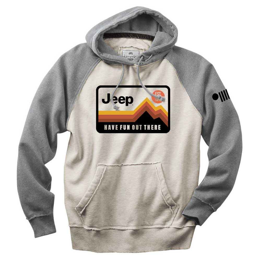 Mens Jeep® Have Fun Out There Vintage Hoodie - Grey/Natural