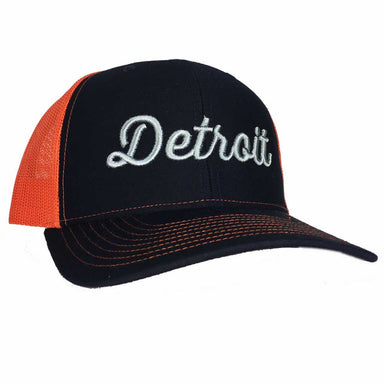 Hat - Detroit Thirsty Navy Orange Richardson Snapback-Hats-Detroit Shirt Company