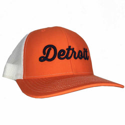 Hat - Detroit Thirsty Orange White Richardson Snapback-Hats-Detroit Shirt Company