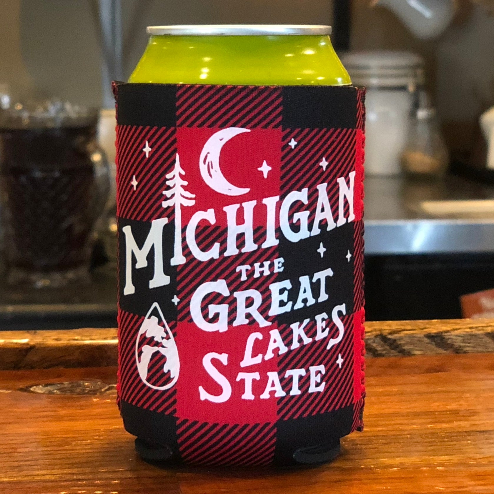 Koozie - Michigan Vintage Font Plaid