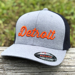 Hat - Detroit Script Flexfit (Heather Grey / Navy / Orange)