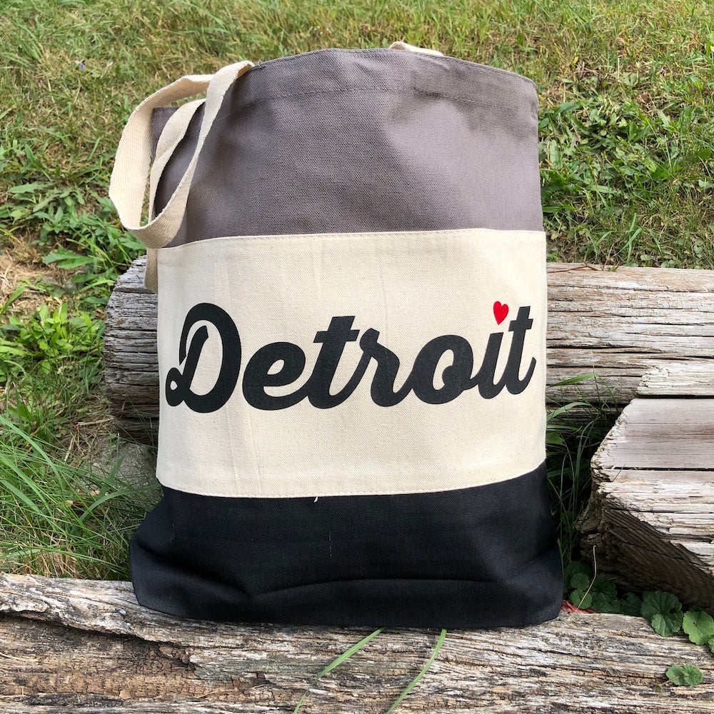 Detroit Heart Stripe Tote Bag – Grey and Black