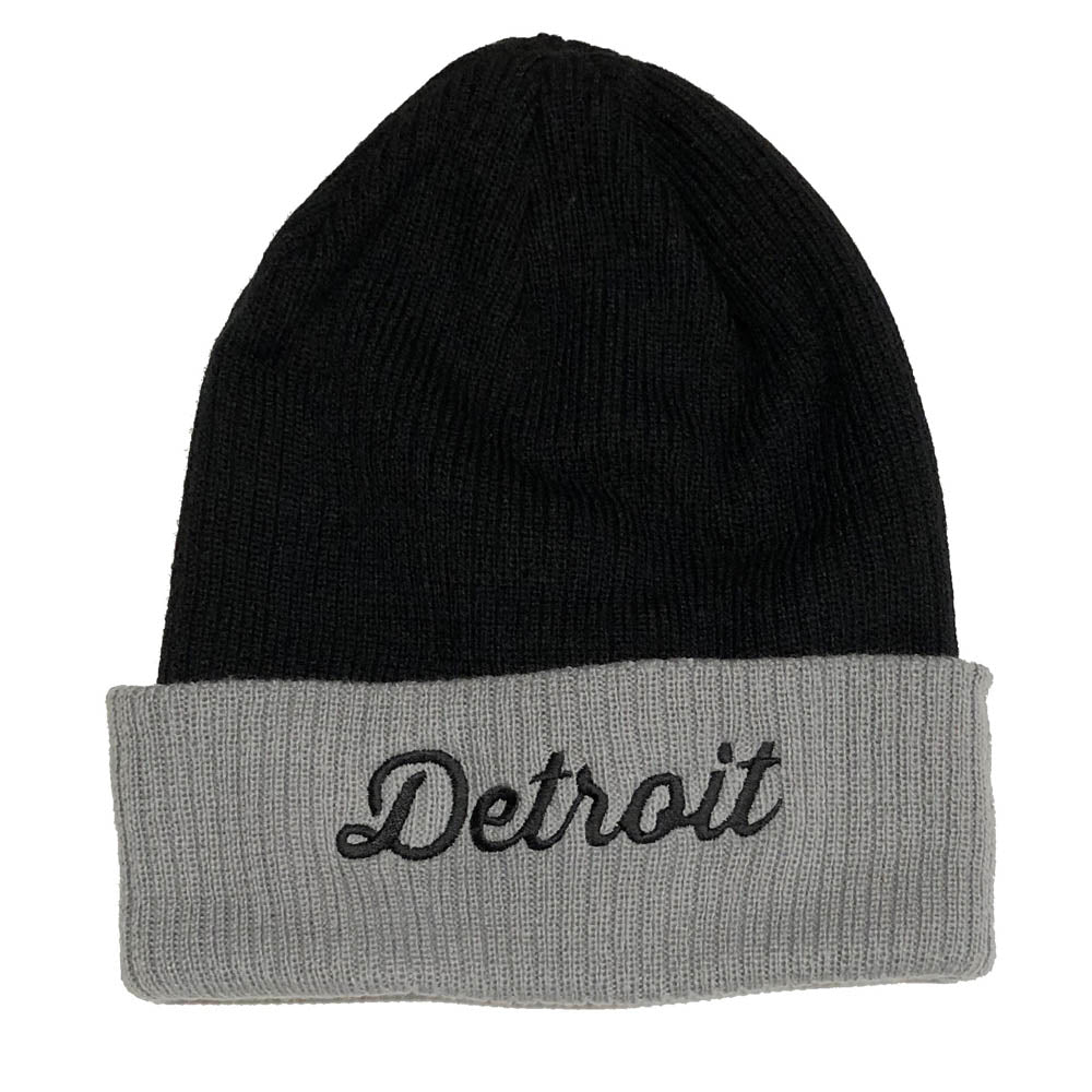 Hat - Detroit Thirsty Script Flip Knit - Blk/Grey