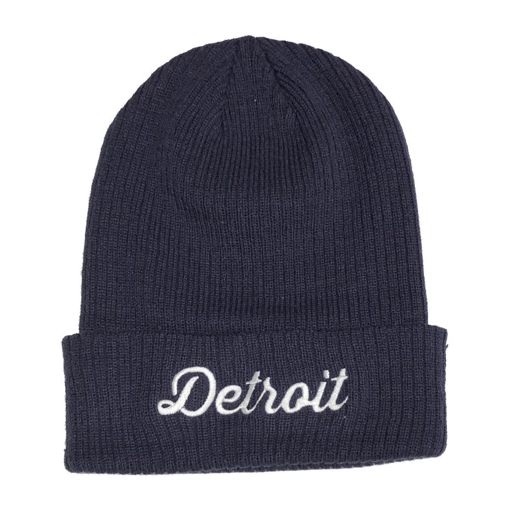 Hat - Detroit Thirsty Script Flip Knit - Navy