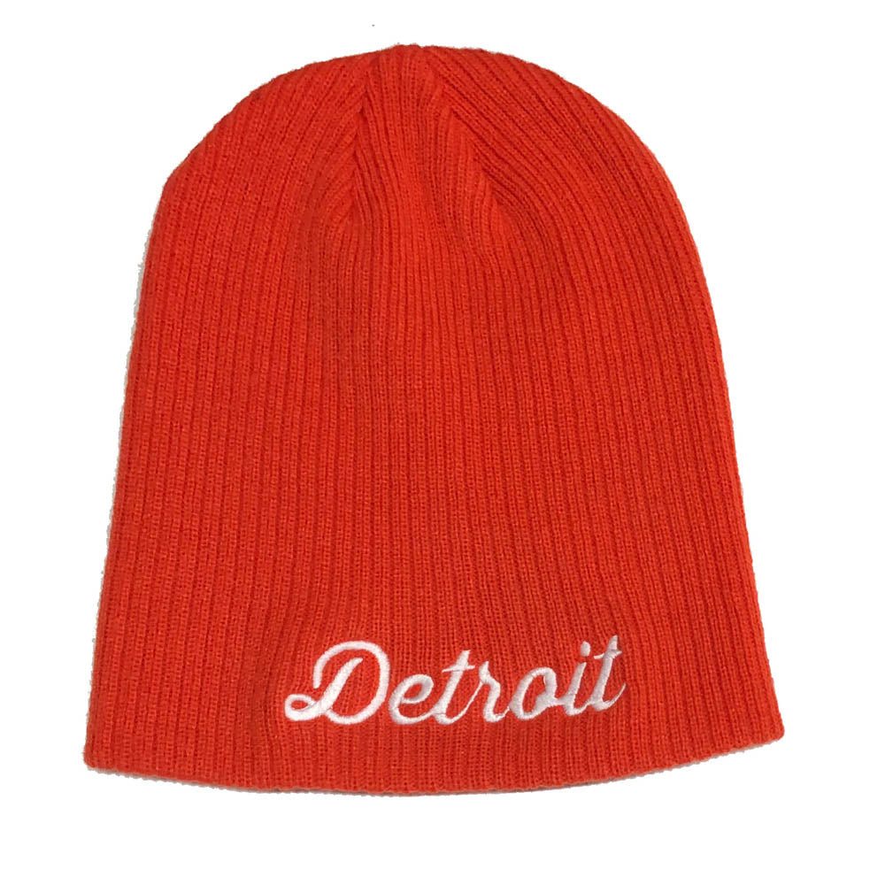Hat - Detroit Thirsty Script Knit Beanie - Orange