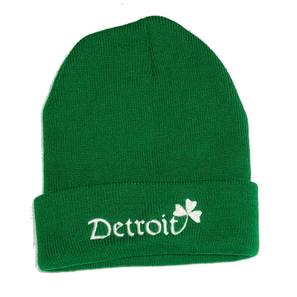 Hat - Detroit St. Patrick's Shamrock Flip Knit - Kelly Green