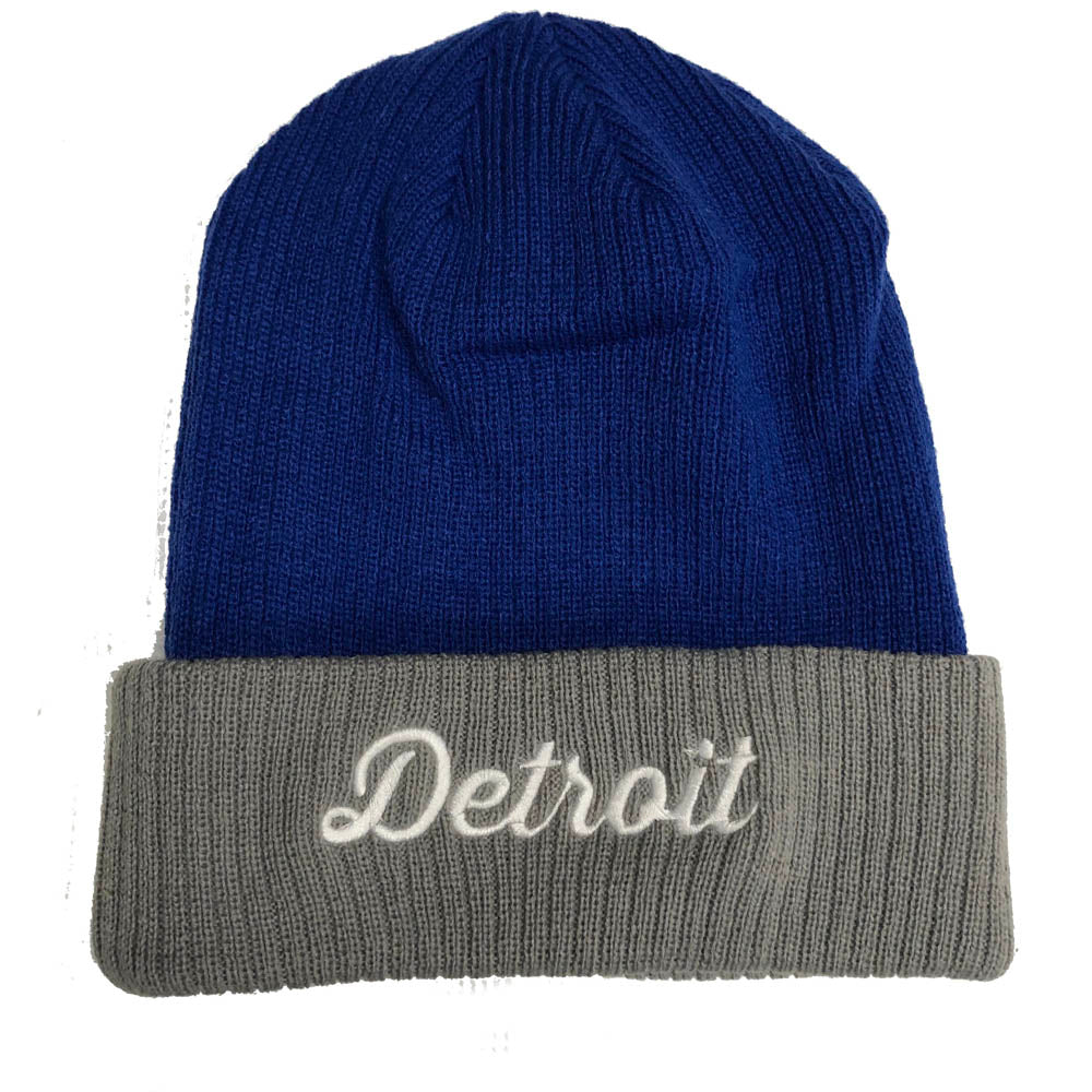 Hat - Detroit Thirsty Script Flip Knit - Royal Blue/Grey
