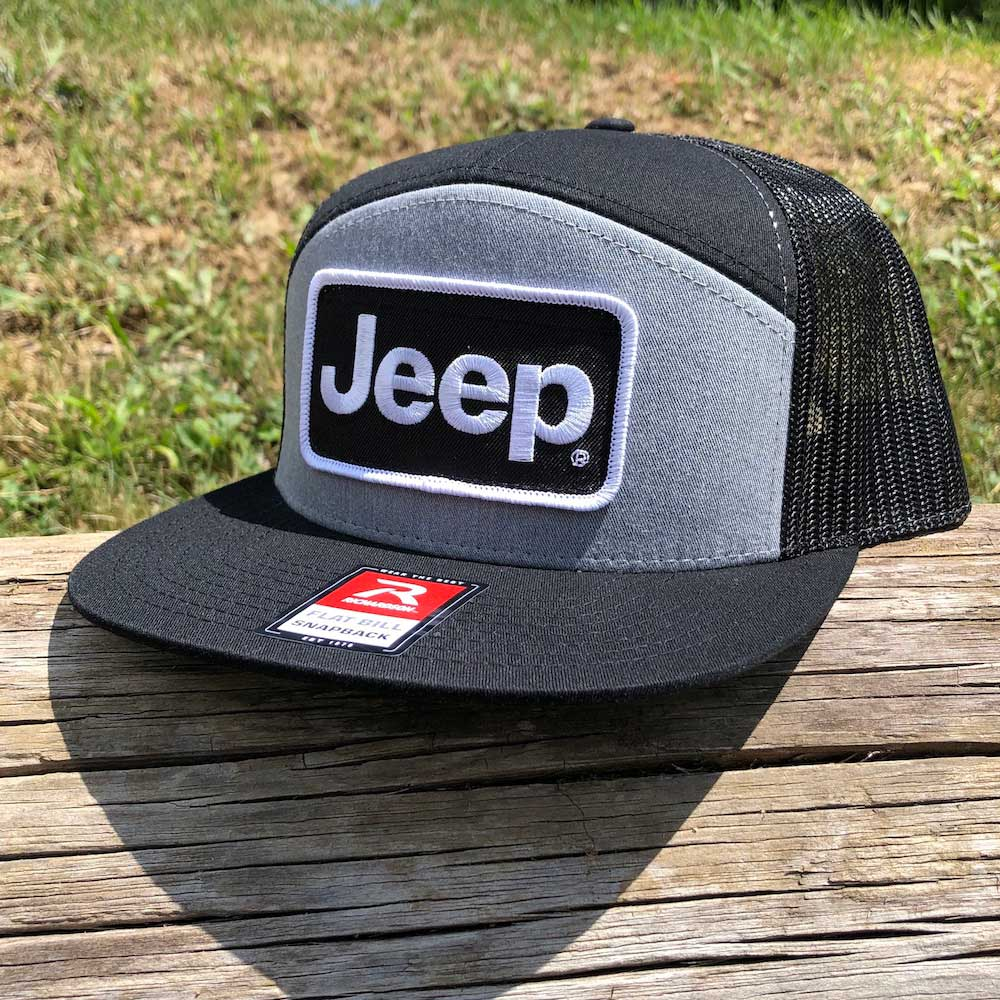 Hat - Jeep Richardson 7 Panel Flatbill Snapback Patch - Heather Grey/Black