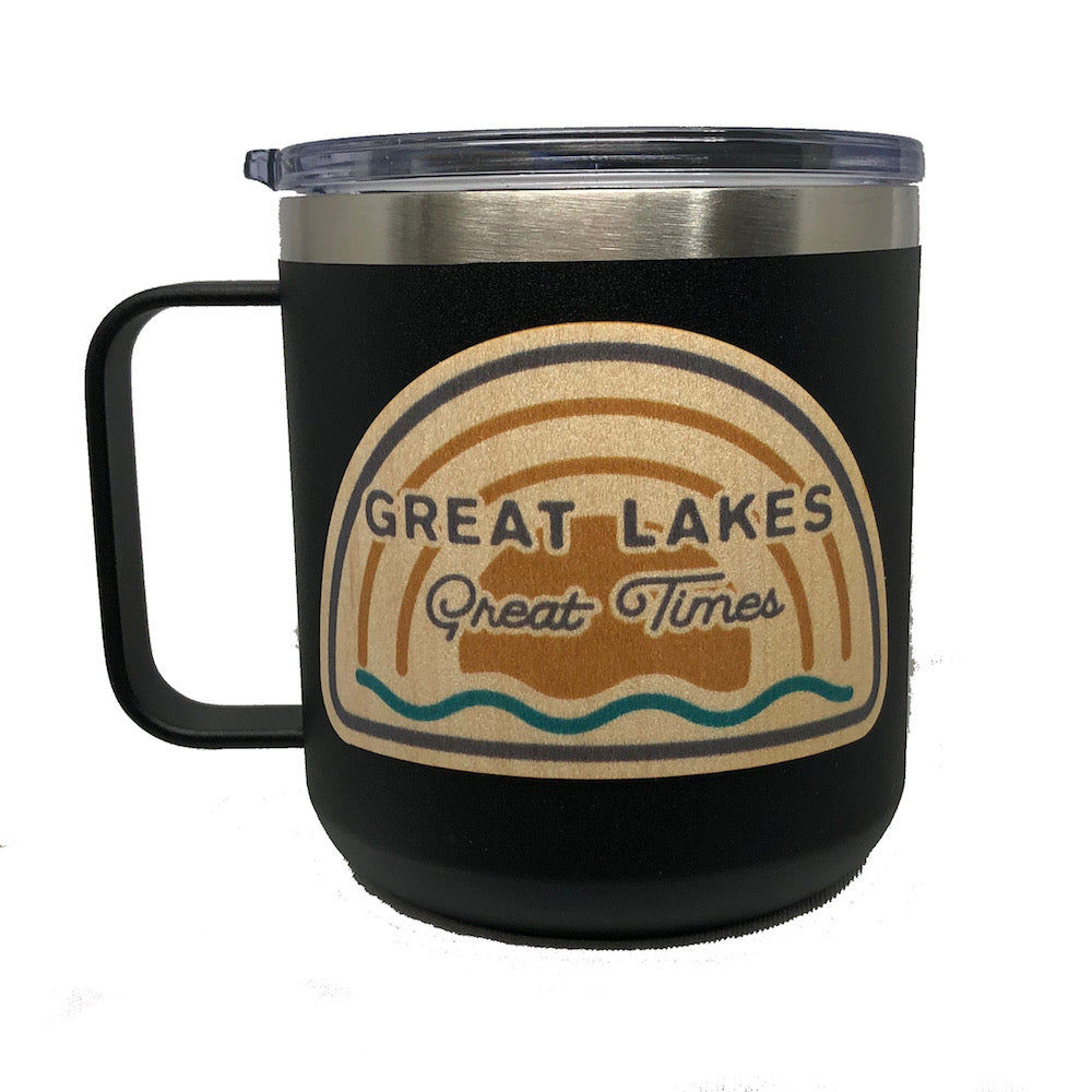 Mug - Michigan Great Lakes Great Times Wood Decal Powder Coated Camper - Black