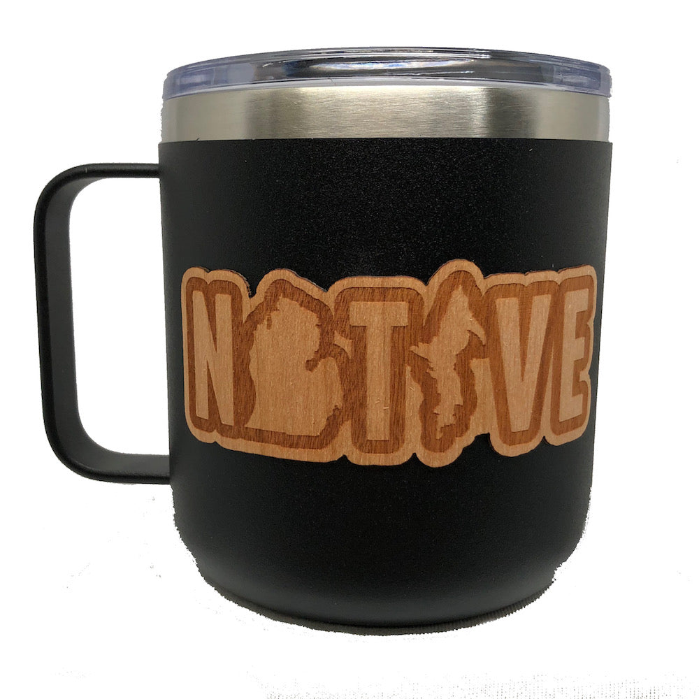 Mug - Michigan NATIVE Wood Decal Powder Coated Camper - Black