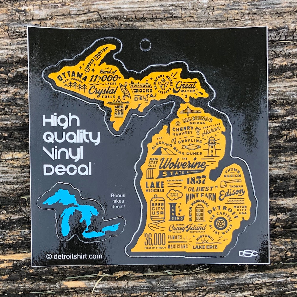 Sticker - Michigan Places Shape + Bonus!