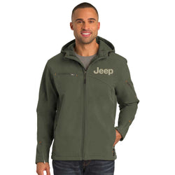 Mens Jeep® Hooded Softshell Jacket - Mineral Green