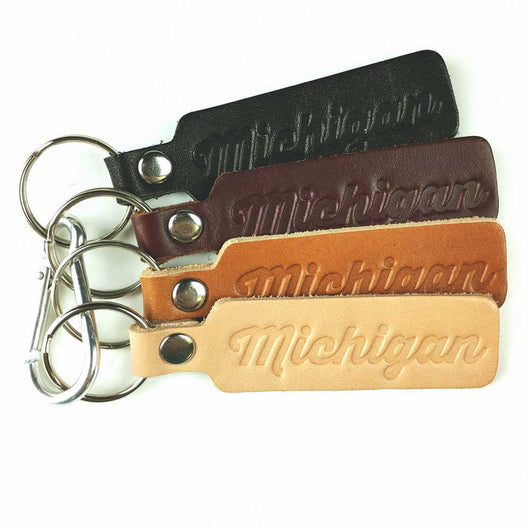 Keychain - Michigan Script leather-Keychain-Detroit Shirt Company