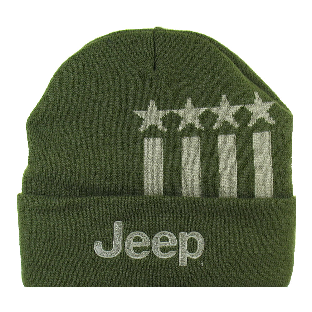 Hat - Jeep Stars and Stripes Flip Knit - Military Green