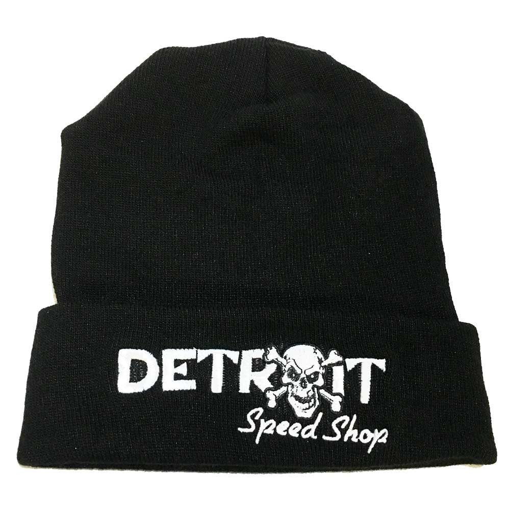 Hat - Detroit Bones Flip Knit - Black-Hats-Detroit Shirt Company