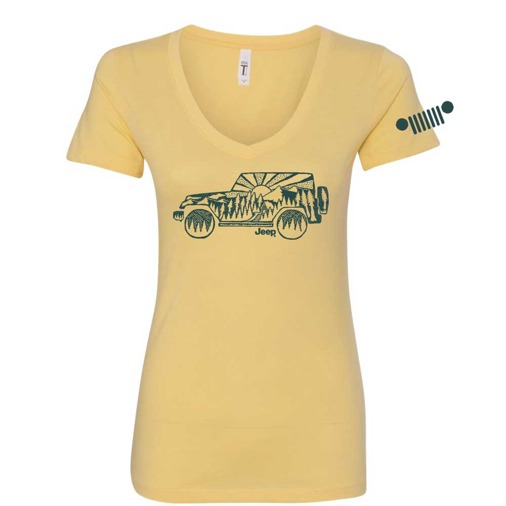 Ladies Jeep® V-neck Atomic Side - Soft Yellow