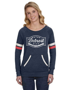 Juniors Detroit Buckle Triblend Fleece Crew Sweatshirt (Navy)