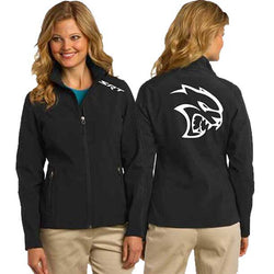 Jacket - Ladies Soft Shell Dodge SRT Hellcat-Outerwear-Detroit Shirt Company