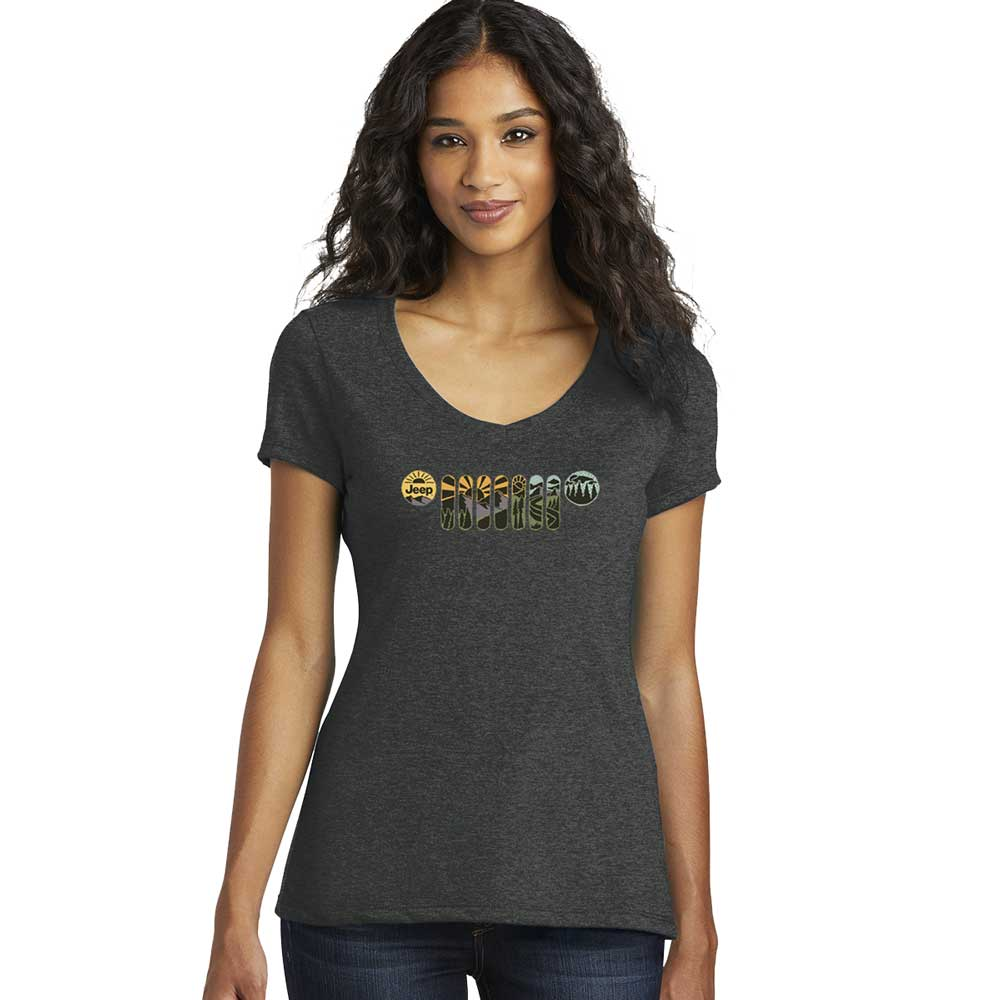 Ladies Jeep® Atomic Grill V-neck - Heather Black
