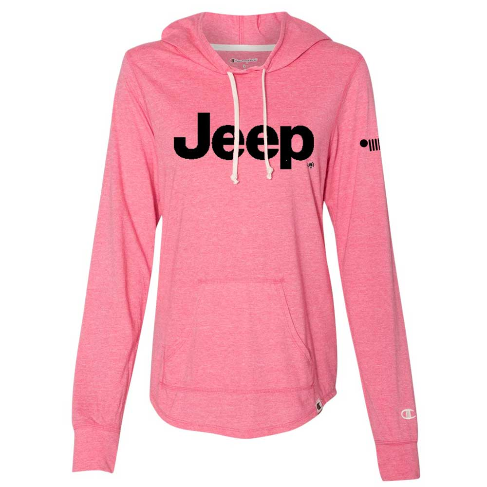 Ladies Jeep® Text Triblend Hooded Pullover - Lotus Pink Heather