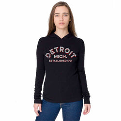 Ladies Detroit Arch Long Sleeve Hooded T-shirt - Black