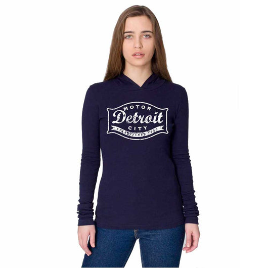 Ladies Detroit Buckle Long Sleeve Hooded T-shirt - Navy Blue