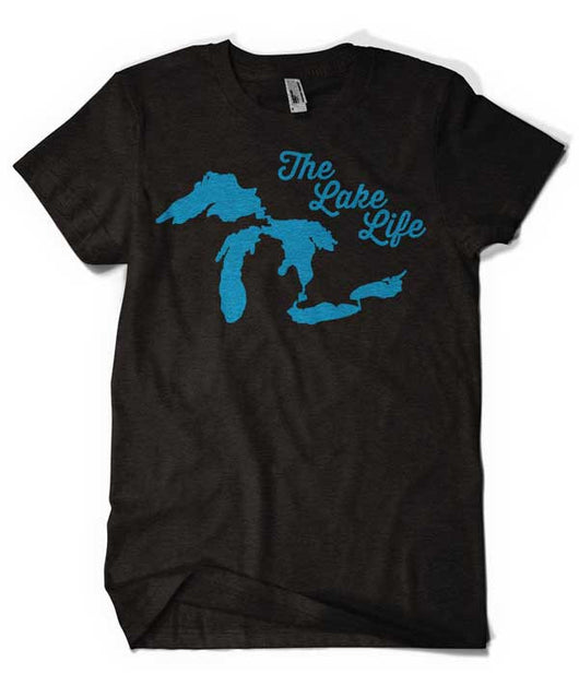 Ladies Lake Life - Heather Black-Ladies-Detroit Shirt Company