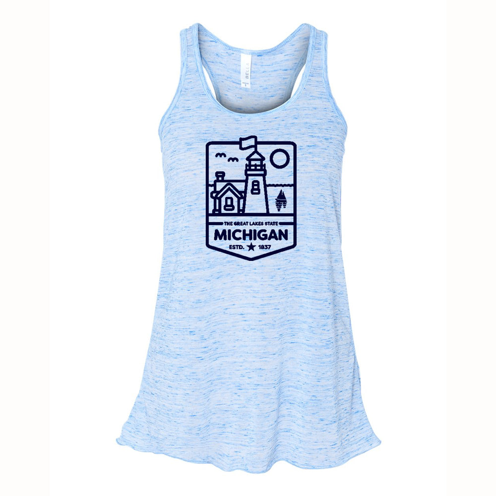 Ladies Relaxed Racerback Tank Top - Michigan Lighthouse Blue Marble