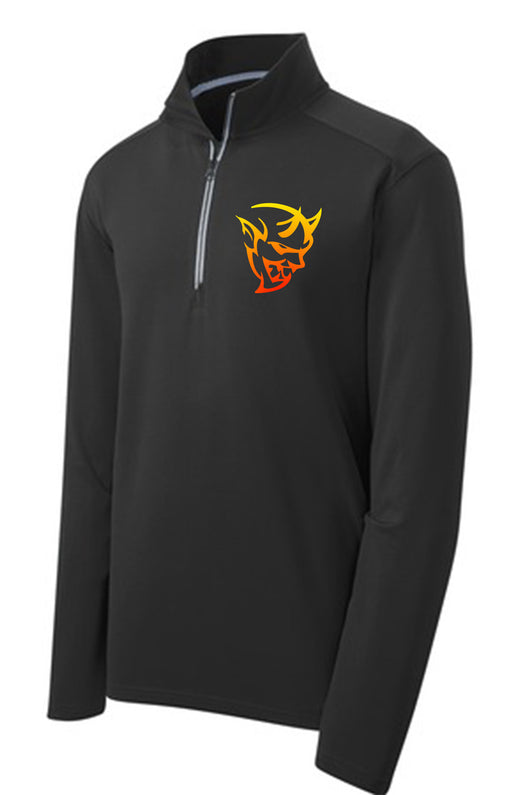 Front side of a ¼ zip Black Dodge Demon Sport Pullover Jacket - Detroit Shirt Co.