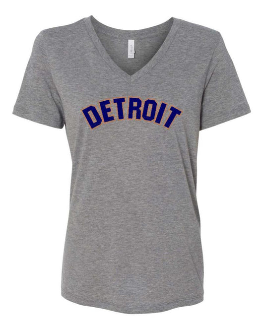 Ladies Relaxed V-neck Bend 2 color - Triblend Grey-Ladies-Detroit Shirt Company