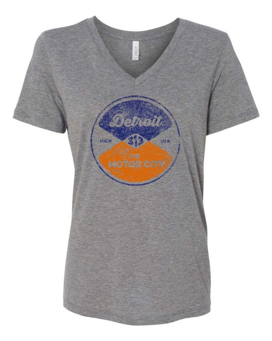 Ladies Relaxed V-neck Reel - Triblend Grey-Ladies-Detroit Shirt Company