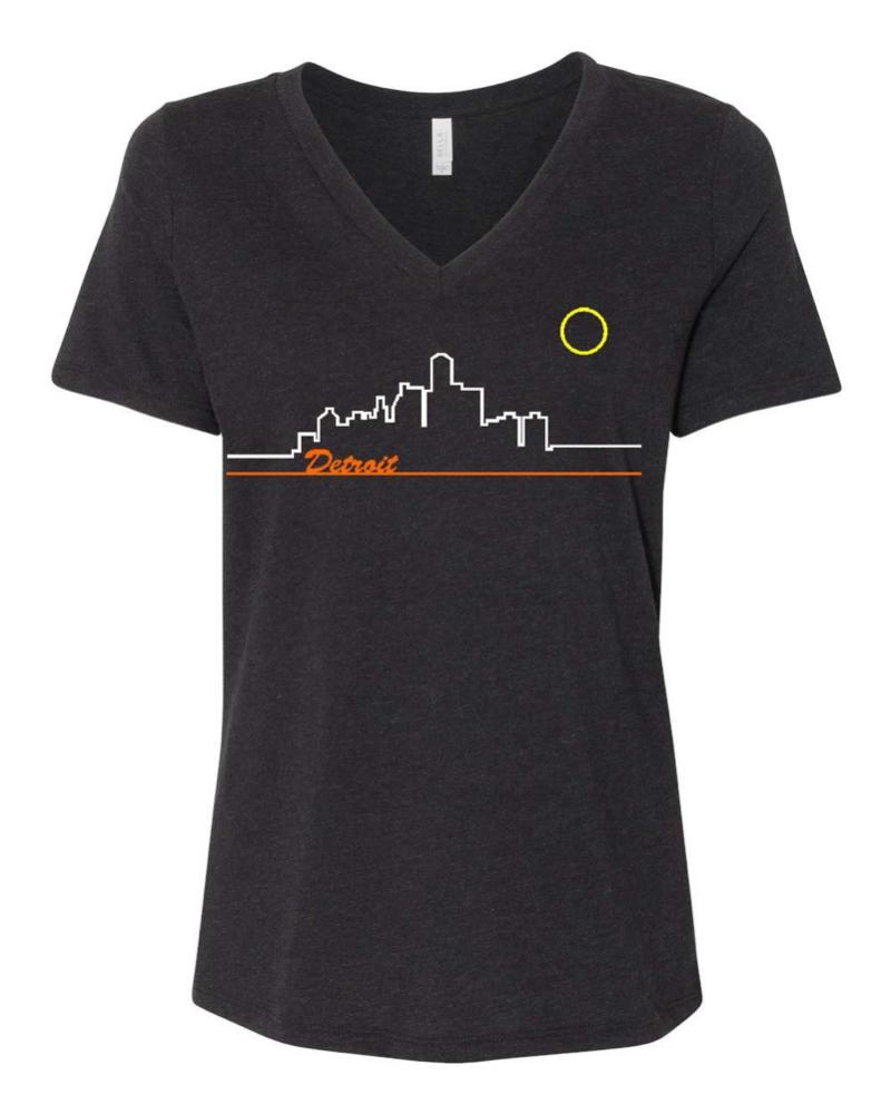 Ladies Relaxed V-neck Skyline - Triblend Black-Ladies-Detroit Shirt Company