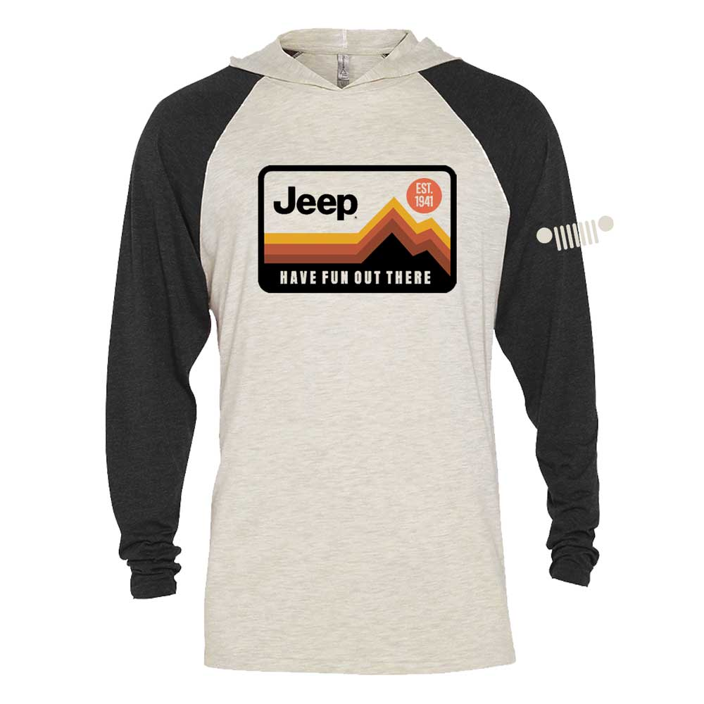 Mens Jeep® Have Fun Out There Long Sleeve Hooded T-Shirt - Black / Natural