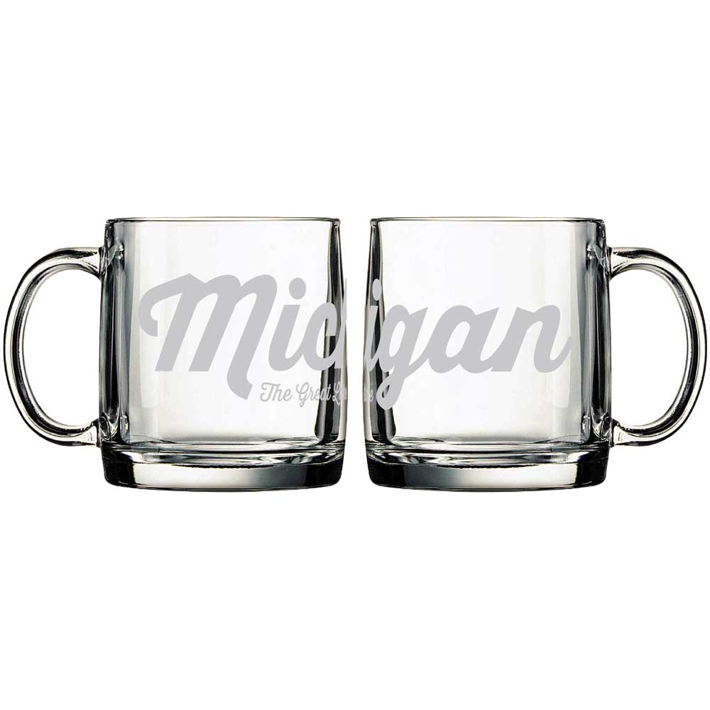 Mug - Michigan Script - The Great Lakes State Glass