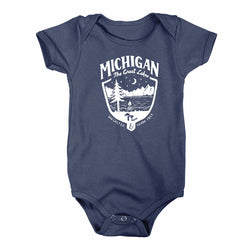 Baby Onesie - Michigan Shield - Navy-Onesies-Detroit Shirt Company