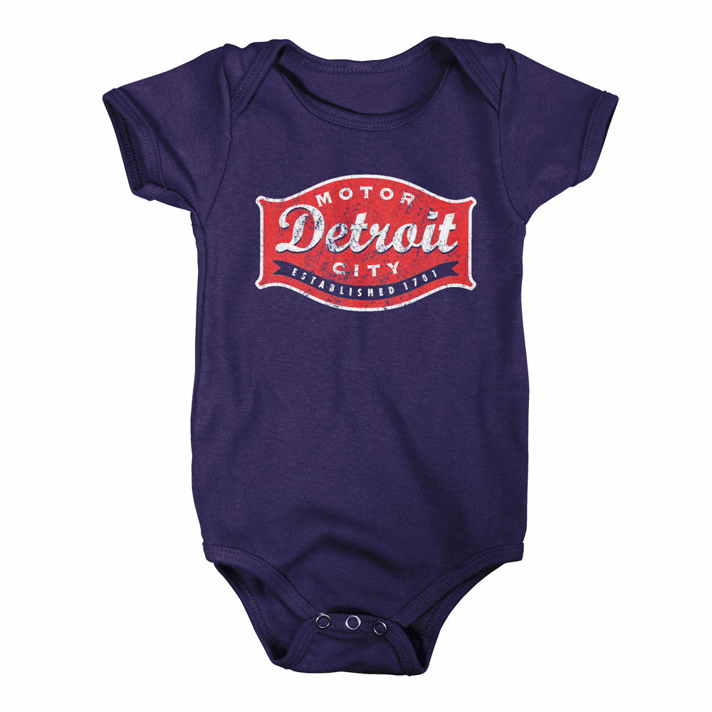 Baby Onesie - Detroit Buckle - Navy -Detroit Shirt Company