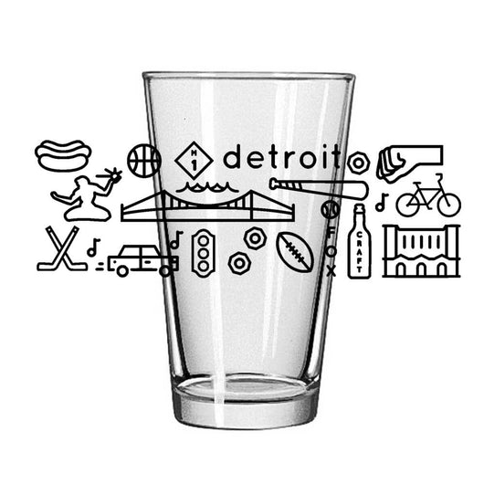 Pint Glass - Detroit Icons-Glassware-Detroit Shirt Company