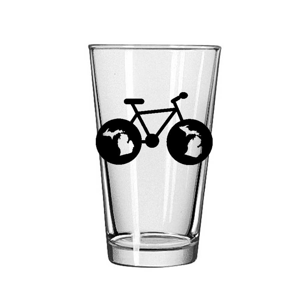 Pint Glass - Michigan Bike-Glassware-Detroit Shirt Company
