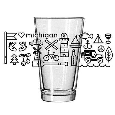 Pint Glass - Michigan Icons-Glassware-Detroit Shirt Company