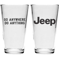 Pint Glass - Jeep Text - Go Anywhere. Do Anything. (Black)