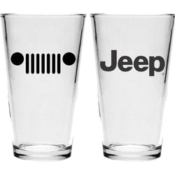 Pint Glass - Jeep Text / Jeep Grill (Black)