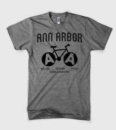 Mens Triblend Ann Arbor Bike T-shirt (Grey)