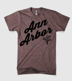 Mens Ann Arbor Script T-shirt - Heather Burgundy