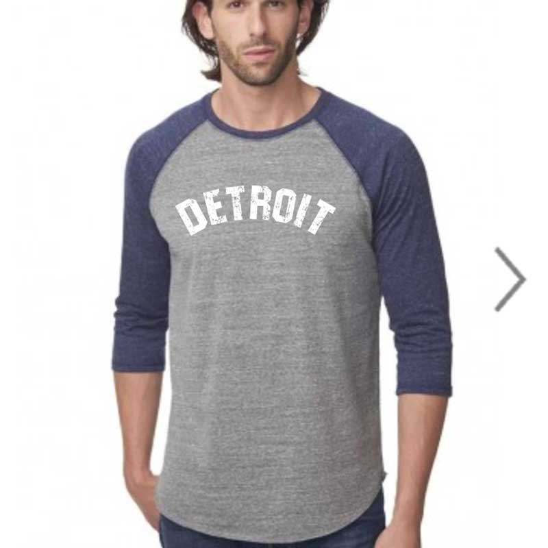 Mens Detroit Bend Triblend 3/4 Sleeve Baseball T-shirt