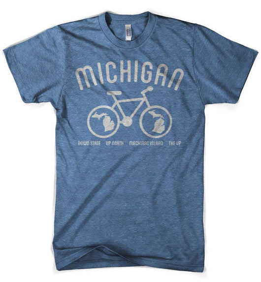 Mens Michigan Bike T-shirt (Heather Lake Blue) | Detroit Shirt Co.