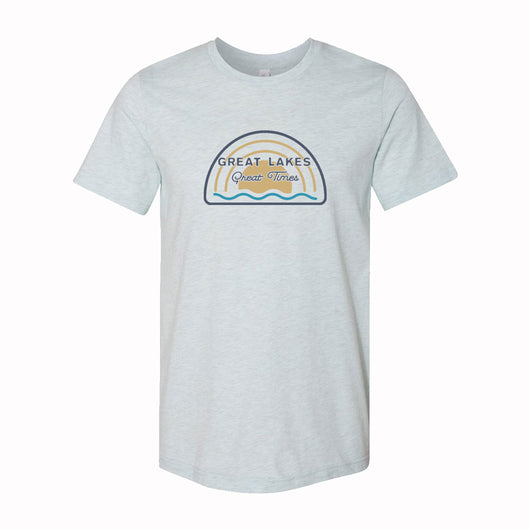 Mens Michigan Great Lakes Great Times T-shirt (Heather Ice Blue)