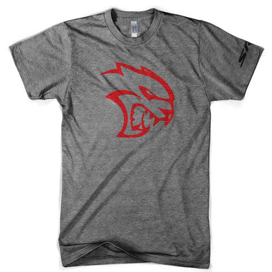 Mens Triblend Dodge SRT Hellcat Red Logo T-shirt (Grey) | Detroit Shirt Co.