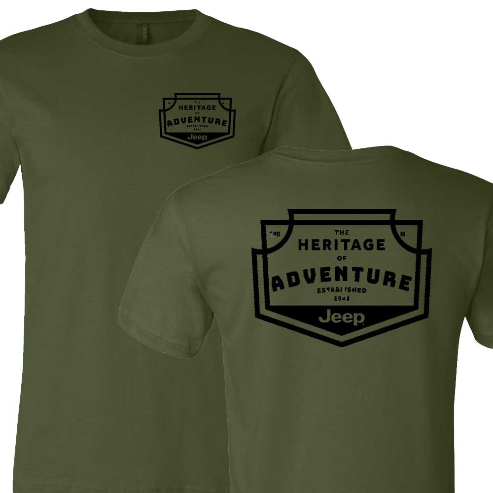 Mens Jeep® Heritage of Adventure Badge T-Shirt - Olive Green